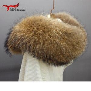 Image 5 - פרווה אמיתית יוקרה צעיף מעיל צווארון נשים חורף מעיל פרווה צעיפי דביבון פרווה צעיף חם צוואר מחממי צעיף צעיפים עבור גבירותיי