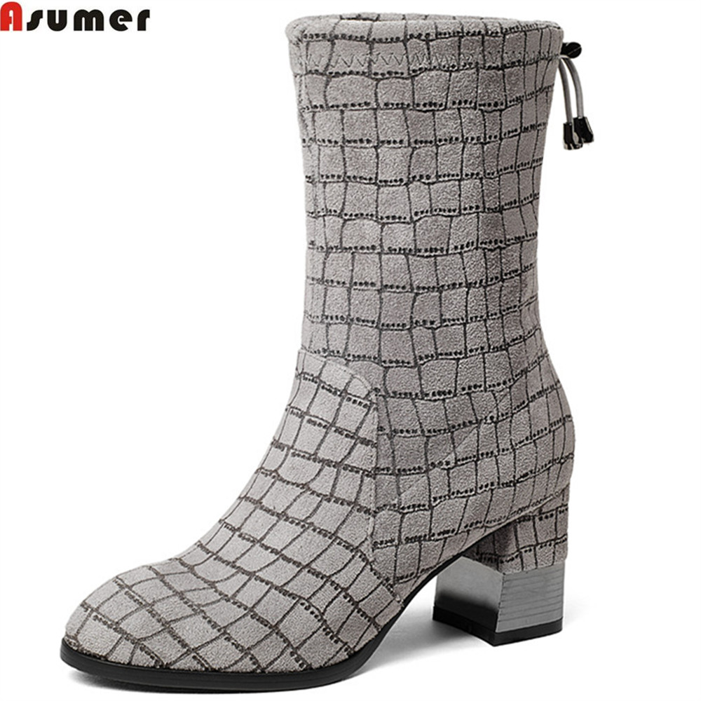 ASUMER 2018 fashion autumn winter new arrive women boots round toe ladies boots square heel elegant ankle boots black