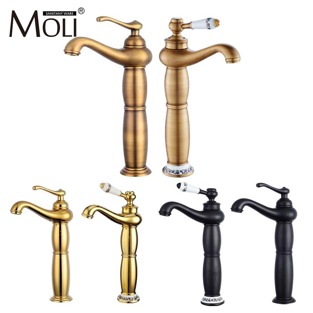 Tall antique brass basin mixer deck mount golden bathroom faucets single handle single hole cold&hot water tap torneira FCT001 ланцов м дмитрий донской империя русь