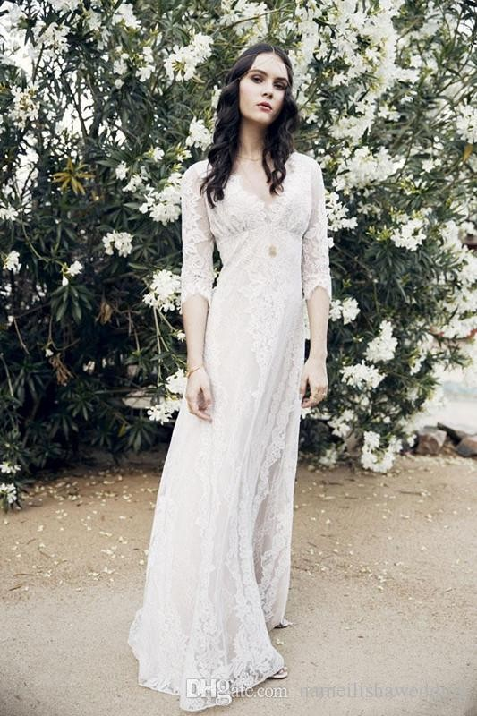 Top-Quality-Cheap-White-Lace-Boho-Beach-Wedding-Dresses-With-3-4-Sleeves-2016-Bohemian-Country