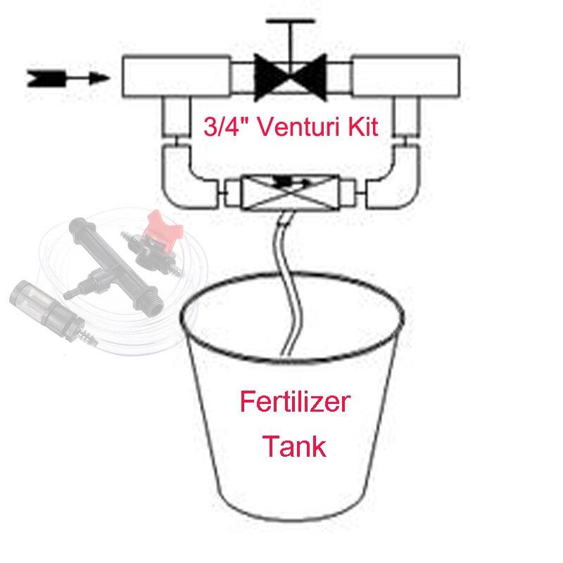 "3//4/"" Garden Irrigation Device Venturi Fertilizer Injector Switch Water Tube Kit"
