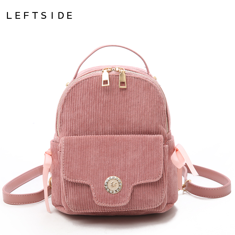 2f2e62ff6f LEFTSIDE Cute Small Backpack For Women 2018 Teenagers Mini Back Pack Kawaii  Girls Bow Backpacks Feminine Packbags Solid color-in Backpacks from Luggage  ...