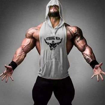 Brand Gym Clothing Fitness Men Cotton Tanktop with hooded Mens Bodybuilding Stringers Tank Tops workout Singlet Sleeveless Shirt 9