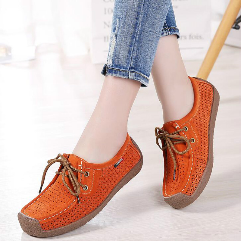 Dwayne Spring/Summer Women Moccasins Womens Flats Genuine   leather   Shoes Woman Lady Loafers Lace-Up   Suede   Shoes mocasines mujer