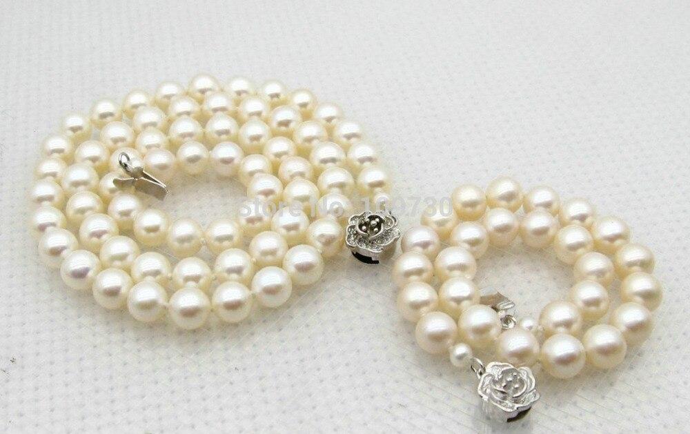 Bijoux 00742 7mm blanc perle ensemble de bijoux collier 18