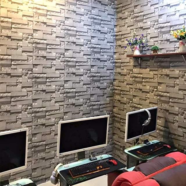 3D Wallpaper Bedroom Living Mural Roll Modern Faux Brick Stone Wall Paper Non Woven Fabrics