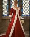 Самые продаваемые красный белый искусственного меха край атласа зима свадьба пальто с 3/4 рукава длинные развертки поезд мыс свадьба плащ