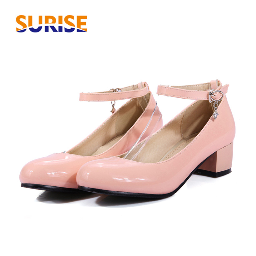 Big Size Casual Women Pumps 4cm Medium Thick Block Heel Patent Leather Round Toe Office Wedding Summer Ankle Strap Ladies Pumps amourplato women s ladies handmade fashion big large size thick block heel closed toe high heel party office pumps chunky shoes
