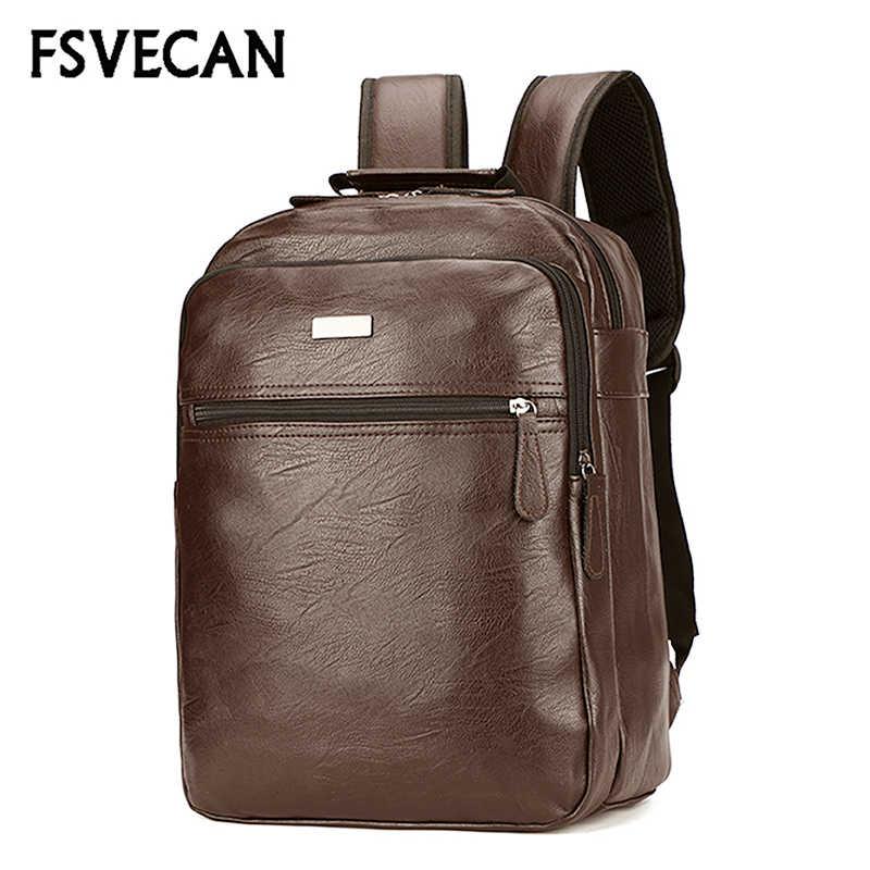 Модные Мужской кожаный рюкзак мужской Anti theft ноутбук рюкзак школьный Универсальный колледж большой рюкзаки, сумки для путешествий человек 2018