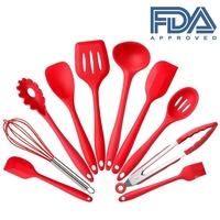 HOONAO 10 pcs/set Silicone Heat Resistant Kitchen Cooking Utensils spatula Non-Stick Baking Tool tongs ladle gadget