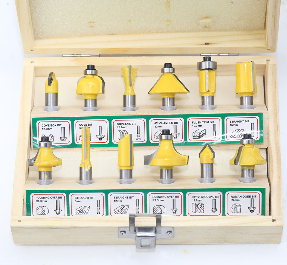 12pcs Milling Cutter Router Bit Set 8mm Wood Cutter Carbide Shank Mill Woodworking Trimming Engraving Carving Cutting Tools