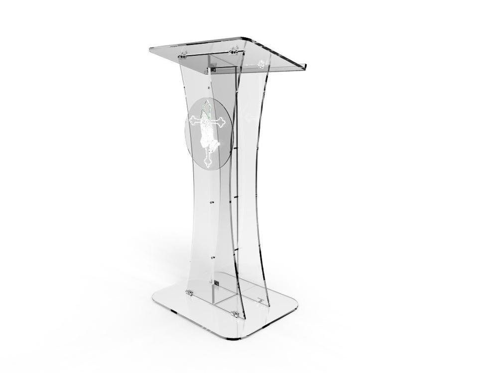 Fixture Displays Plexiglass Acrylic Podium Clear Lectern Church Pulpit With Pray Hand Decor