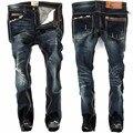 Marca casuais calças de Brim Dos Homens Tamanho Grande perna Reta Magro Skinny Jeans Motociclista Homens Azuis Calças Jeans Moda de Algodão Calças Compridas