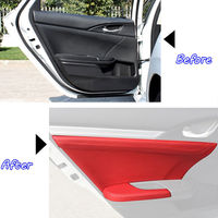 For Honda Civic 2016 2017 2018 8x Leather Car Door Panel Armrest Cover Waterproof Surface Shell DIY Trim Red Styling Accessories