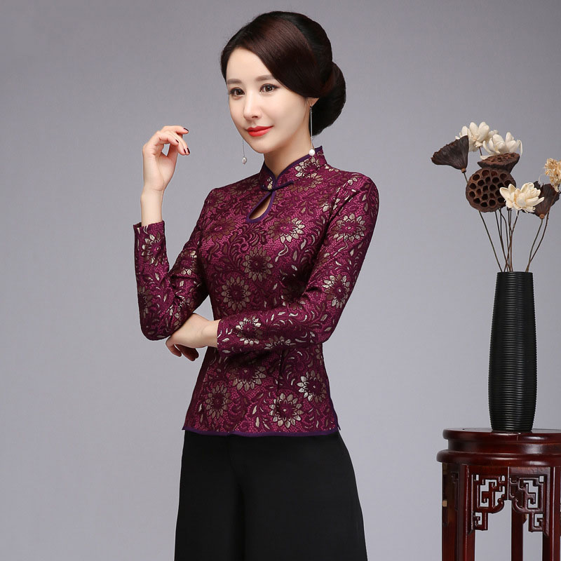 Lace Girls Chinese language Conventional Cheong-sam High Shirt Informal Mandarin Collar Shirt Purple Button Plus Dimension 4XL Tang Clothes Blouses & Shirts, Low-cost Blouses & Shirts, Lace Girls Chinese...