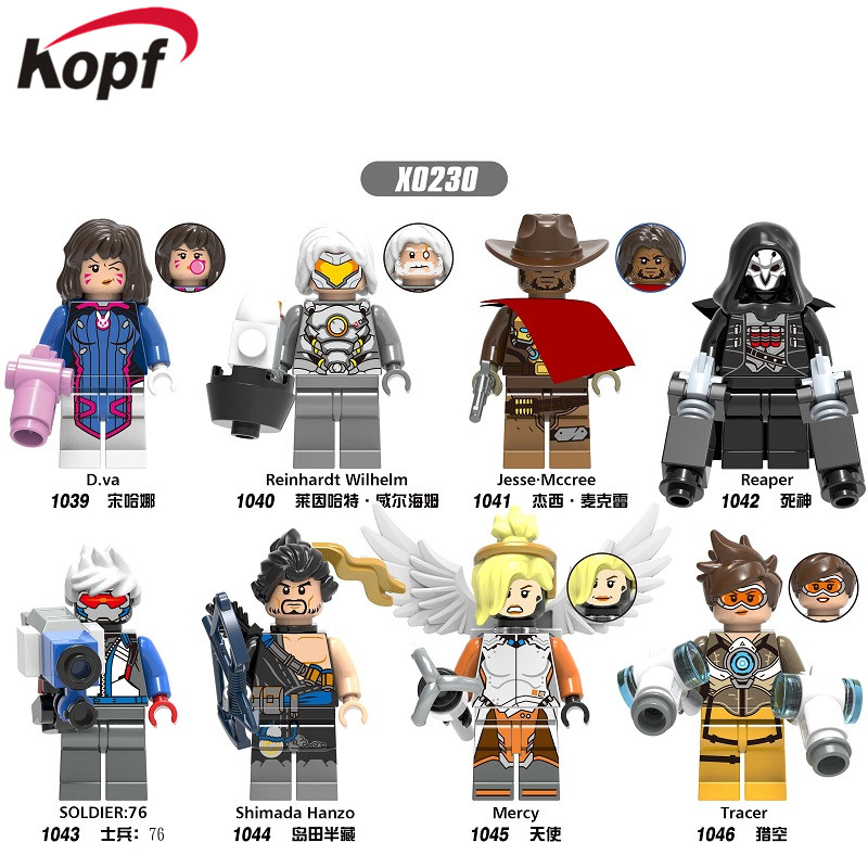 Single Sale Building Blocks D.Va Reinhardt Wilhelm Jesse.Mccree Reaper Soldier76 Shimada Hanzo Figures For Children Toys X0230