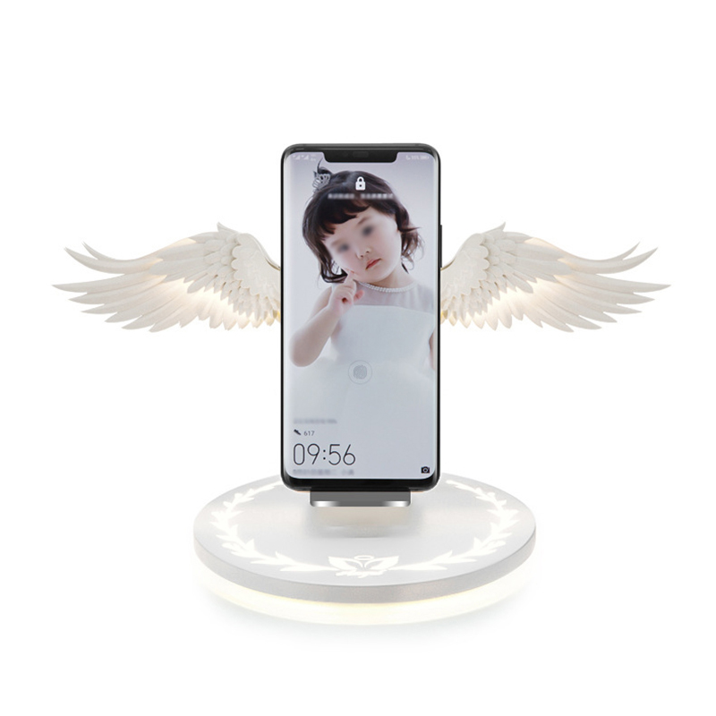 Phone - 10W Wireless Charger Angel Wings Night Light Mobile Phone Wireless Charger for Android Apple USB Fast Charge with Night Light