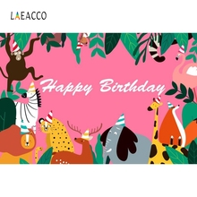 Laeacco Pink Animals Safari Tropical Plants Birthday Photography Backgrounds Customized Photographic Backdrops for Photo Studio