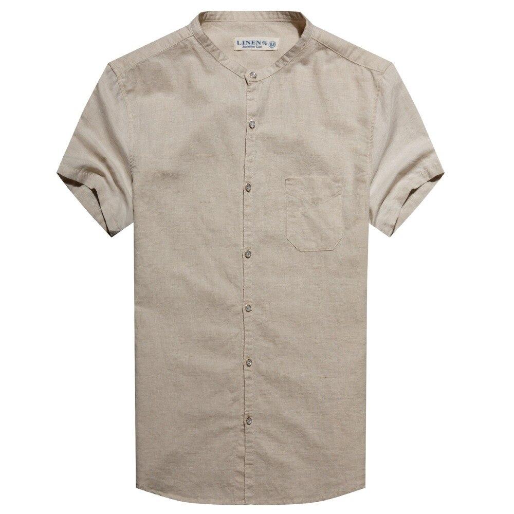 2016 New Men Shirt linen short Sleeve Brand Clothing Mens shirt Slim Fit shirts men Clothes Chemise Homme Vetement Homme