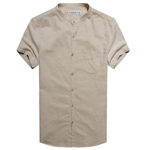 2016 Nova Camisa Dos Homens de linho Roupas de Marca Manga curta camisa Dos Homens Slim Fit camisas Roupas masculinas Chemise Homme Vetement Homme