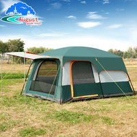 AUGUST outdoor equipment, 5 6 8 people two rooms one bedroom family camping, double tent tent