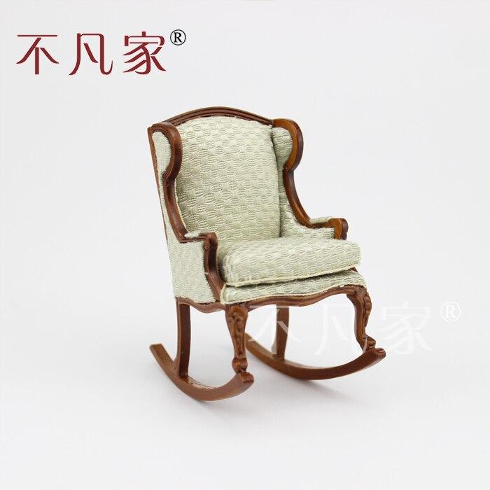 Dollhouse 1/12 ème Échelle Miniature meubles Sculpté À La Main chaise Berçante