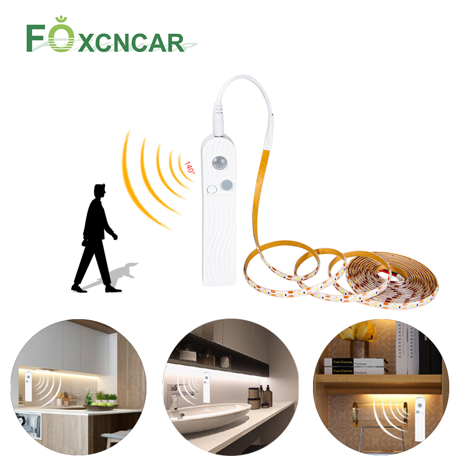 Cabinet Light LED Motion Activated Bed Light 5V PIR Motion Sensor USB LED Strip 2835 SMD Wardrobe Lamp Tape PC TV RGB Backlight