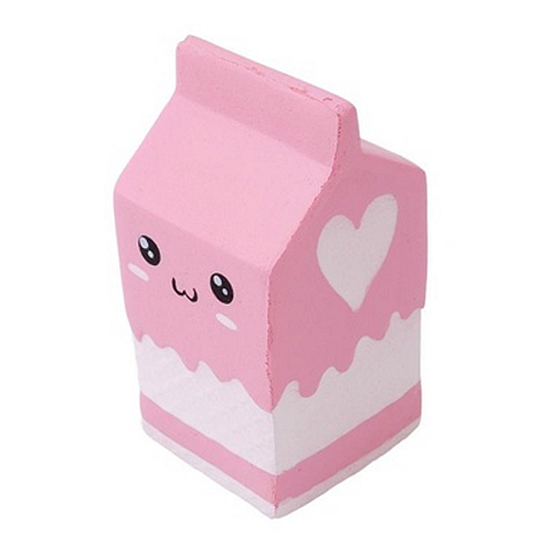 2018 New Squishy Slow Rising Milk Box, Foci Cozi Kawaii Squishy Charms, Hand Pillow Toy, Stress Relief Toy Pink