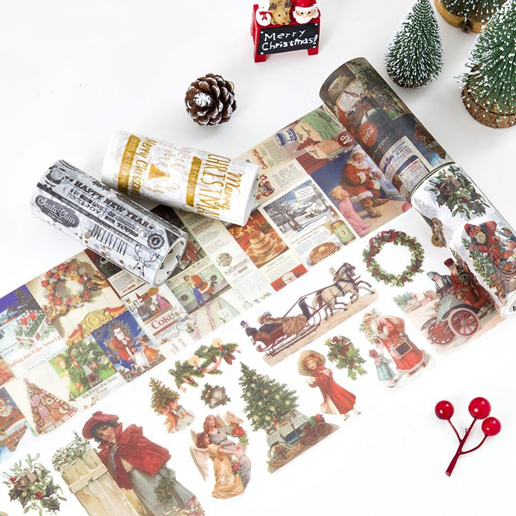 Vintage Design Christmas Deco Masking Tape Wide Washi Tapes 10cm*5M DIY Decoration Supplies 1 Piece Free Shipping vintage times design high quality washi tape 10cm 5m diy journal diary decoration supplies gift free shipping