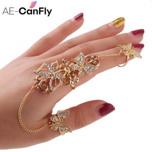 Rhinestone Flower Butterfly Full Finger Rings for Women Gold Chian Link Double Armor