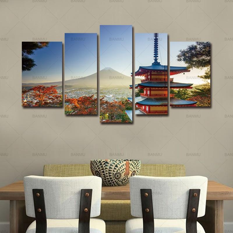 Tela Pittura di Arte Della Parete Chureito Pagoda 5 Pezzi Moderna In Autunno Fujiyoshida Giappone Montagna Paesaggio Stampa Su Tela no frame