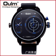 Nuevo Negocio de La Moda Gran Dial Oulm DZ hombres Reloj Reloj Casual relogio masculino Masculino Importó Relojes de pulsera de Cuarzo de Doble pantallas