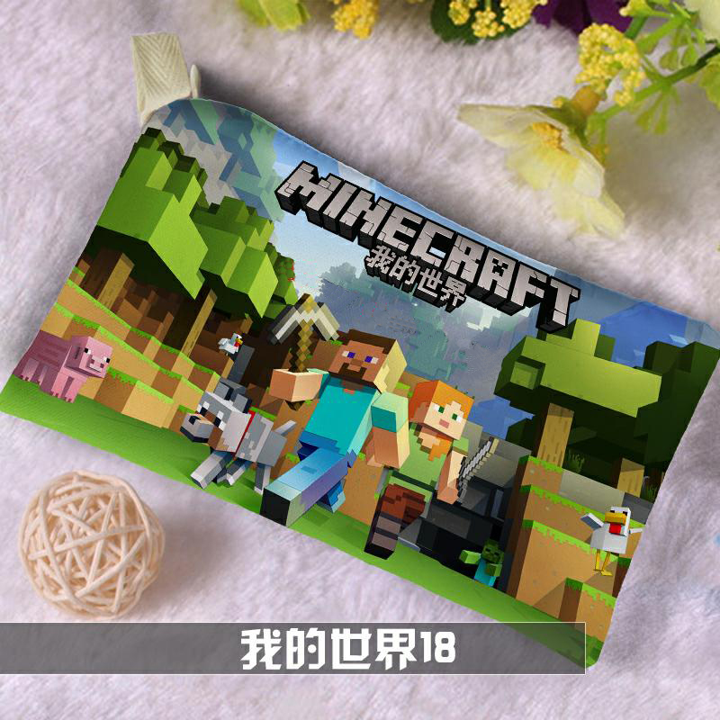 Minecraft Pencil Case for Boys Girls Kawaii Canvas Pencil Bag Cartoon Zipper Pen Box School Supplies Bts Stationery Gift kawaii cartoon girls school pencil case with lock cute pu leather large capacity pencil bag gift bts pen box stationery supplies