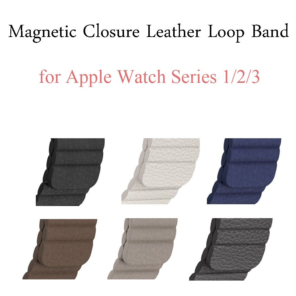 Genuine Leather Loop Band for Apple Watch Band 44/42mm 40/38mm Strap Bracelet for iWatch Series 1/2/3/4 Magnetic Closure Belt цена