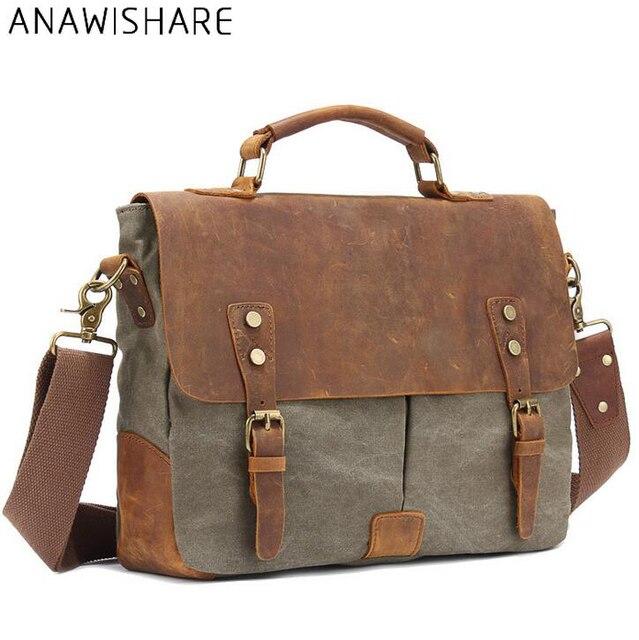 99224fe5ce83f ANAWISHARE w stylu Vintage mężczyźni płótno Messenger torby męskie torby na  ramię Crossbody torba do szkoły