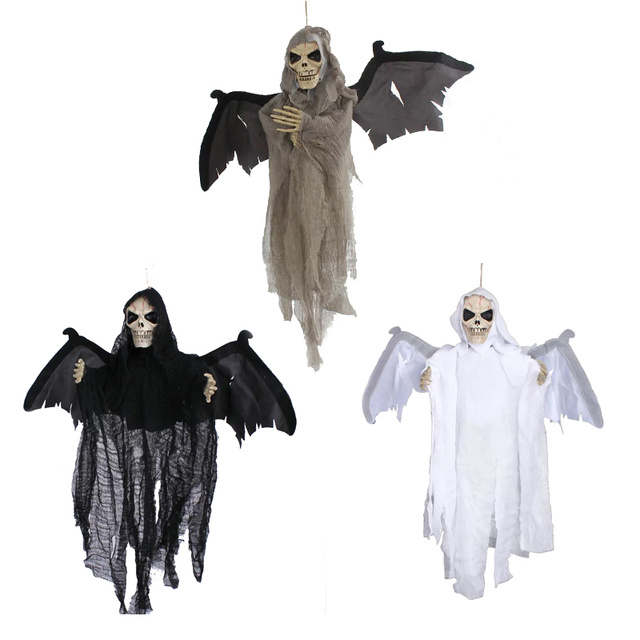 animated flying hanging ghost with red eyes scary sound and moving for halloween decorations