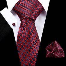 145cm Length 60 Styles Striped Men Tie Blue Hanky Cufflinks Sets Mens Silk For 7.5cm Business Party Cravatte
