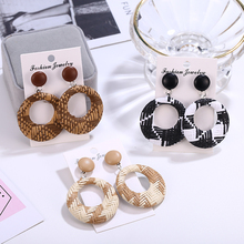 ew Bohemian Wooden Rattan Knit Drop Earrings For Women Lady Fashion Geometric Dangle Party Statement 2019 Jewelry
