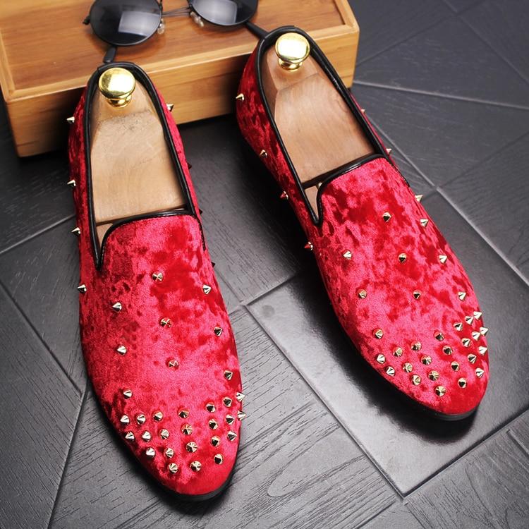 Fashion Rivet Loafers Velvet Blue Black Red Men's Casual Shoes Breathable Men Flats Shoes Luxury Brand Men Loafers Handmade 2.5A