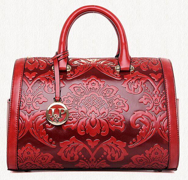 Estilo Chino de la vendimia Bolsos de Boston Bolso de Las Mujeres 2017 Flor Roja Nueva
