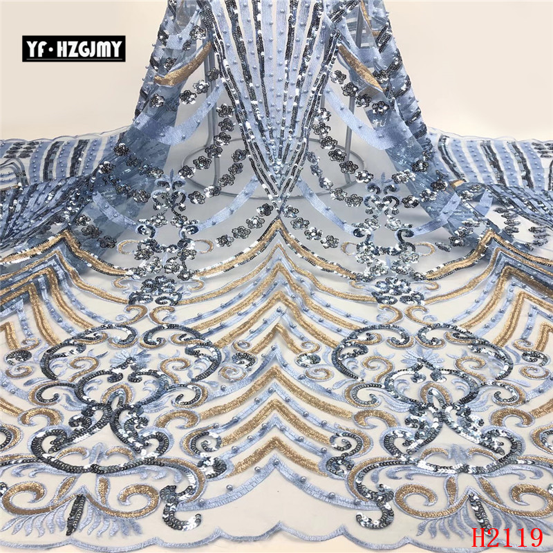 YF HZGJMY Sequins Lace Fabric High Quality French Embroidery mesh Fabric African Party net tulle 5yards For Nigerian  A2119YF HZGJMY Sequins Lace Fabric High Quality French Embroidery mesh Fabric African Party net tulle 5yards For Nigerian  A2119