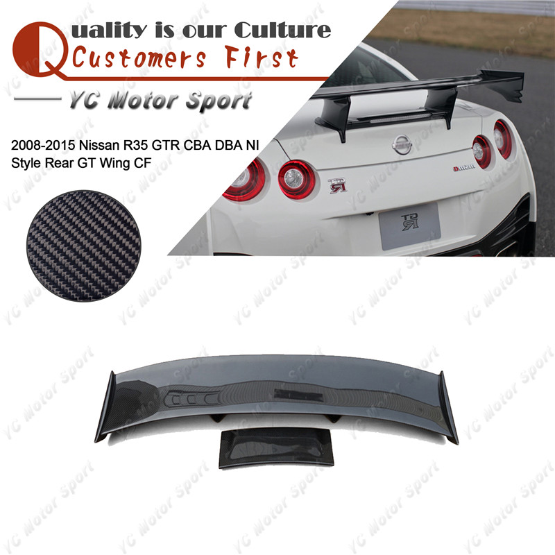 Car Accessories Carbon Fiber NI Style GT Wing Fit For 2008-2015 <font><b>R35</b></font> <font><b>GTR</b></font> CBA DBA <font><b>Rear</b></font> <font><b>Spoiler</b></font> Wing Car-styling image