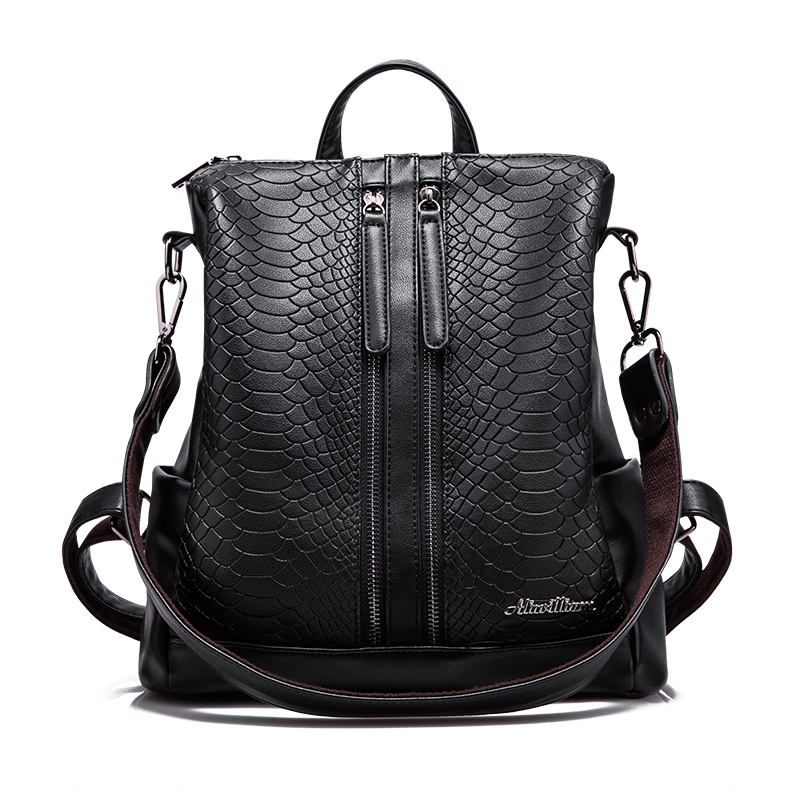 PU Leather  Backpacks Fashion Small Shoulder Bag Snake Pattern Backpack Embossed School Bags Backpack Women LIKETHIS 168-175 women backpacks fashion pu leather shoulder bag small backpack women embroidery dragonfly floral school bags for girls