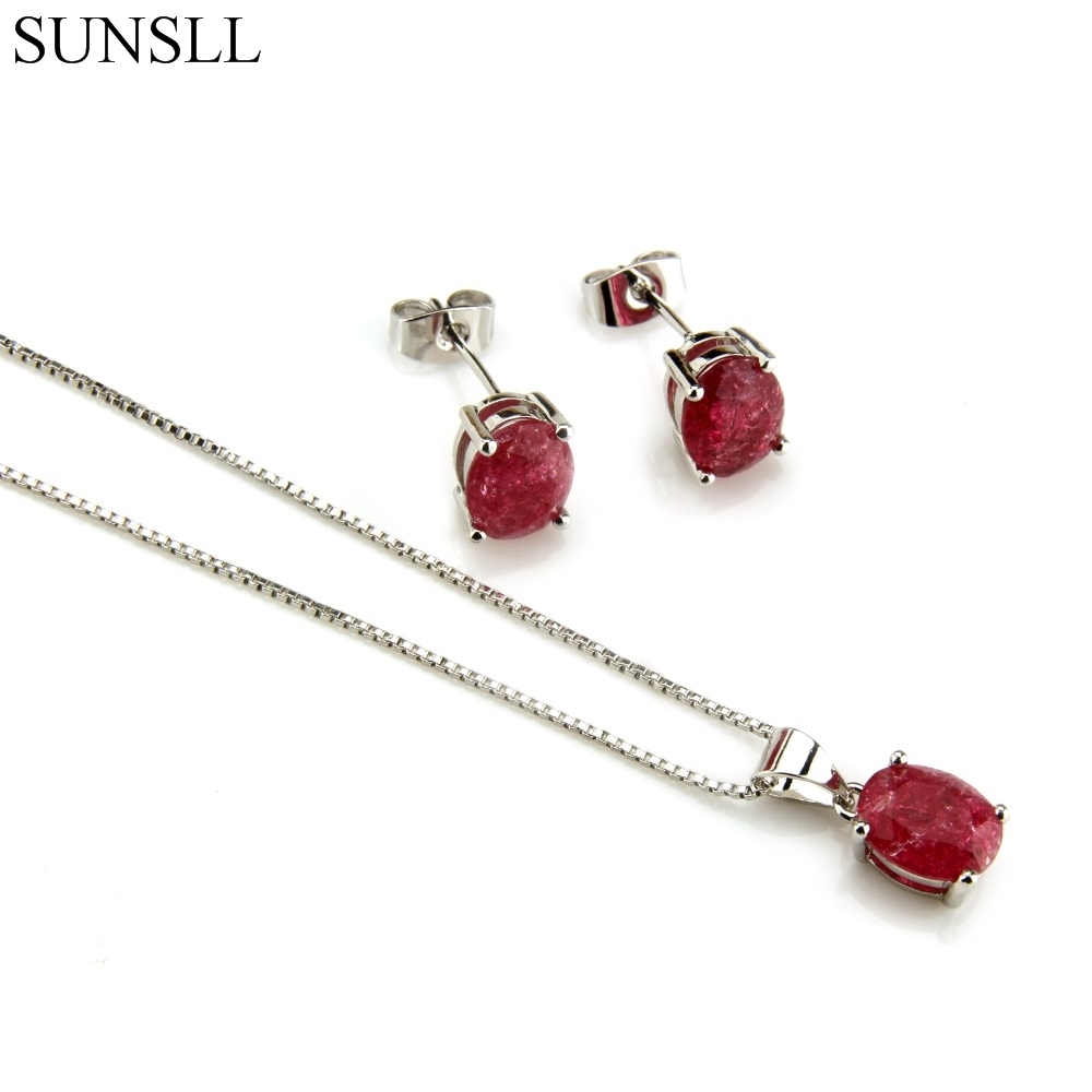 SUNSLL Silver Color Copper Multicolor Crack Cubic Zirconia Stud Earrings And Pendant Necklaces Women's Fashion Jewelry Sets