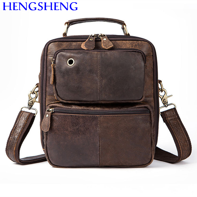 Hengsheng cheap price genuine font b leather b font men shoulder bags for ipad shoulder bags