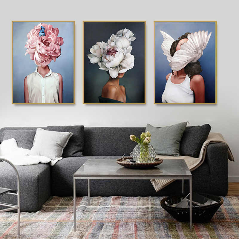 Fashion Sex Lady Flower Figure Girl Picture Home Decor Nordic Canvas Painting Wall Art Modern Posters and Prints for Living Room