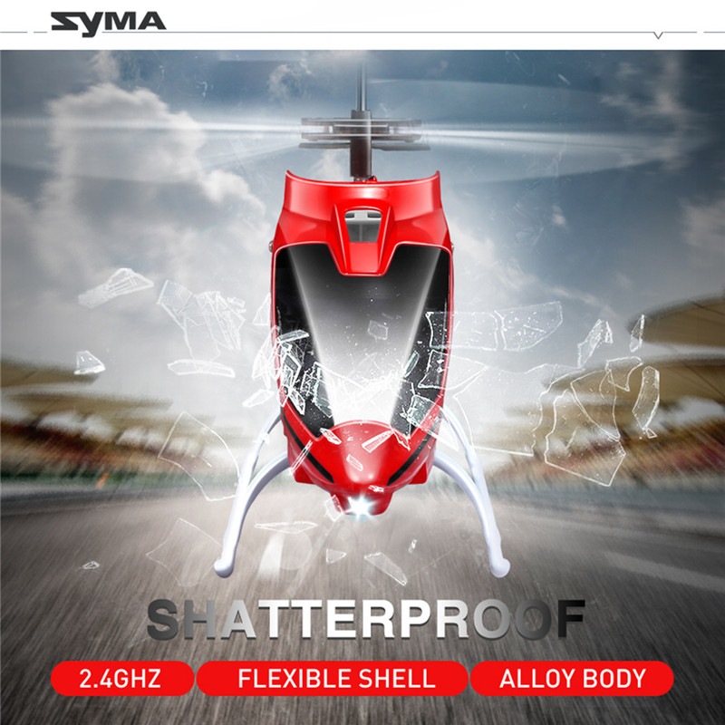 SYMA Remote Control Toy Kids Gift Gyro Led Flashing With S39 2.4GHZ 3CH Helicopter Aluminum Anti-Shock Red