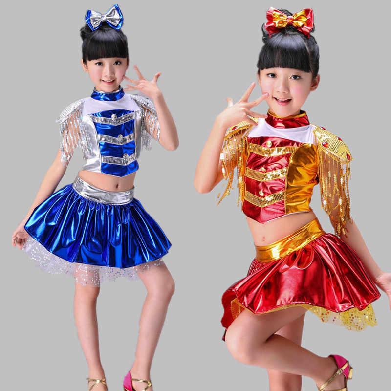 6d7559f45218 ... 2017 New Children Jazz Dance Skirt Sequin Modern Dance Costumes For  Kids Cheerleading Skirt Costumes Girl ...