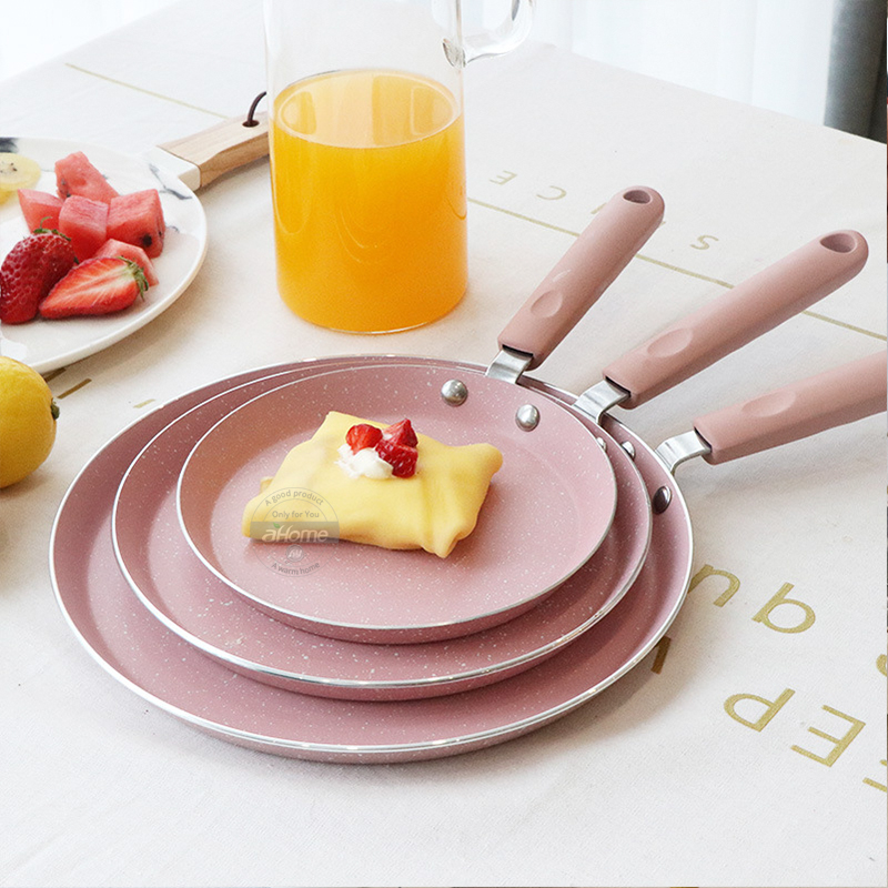 10 8 inch Breakfast cake pot pizza plate fried egg non stick Baking pot Omelet Pans frying pan Japanese Style Pink Cookware Pan in Pans from Home Garden