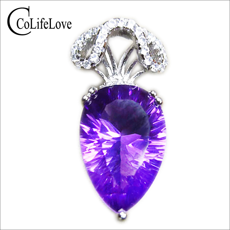 CoLife Jewelry elegant amethyst necklace pendant 10 mm * 14 mm 6 ct natural amethyst pendant solid 925 silver amethyst pendant lalique amethyst eclat